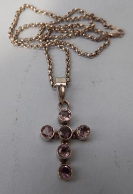 925 silver neck chain, amethyst stone cross, 12.21 grams