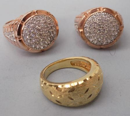 Three gold on 925 silver rings