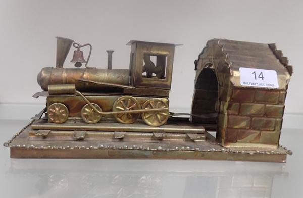 Vintage tin plate musical moving train