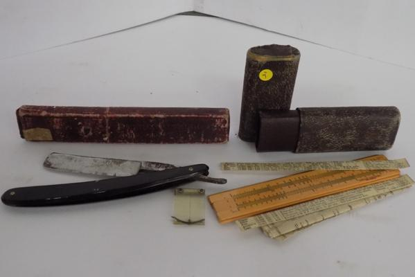 Antique cut throat razor, 6, Wolstenholme & Son, Sheffield and case, early Simplon shoe rule and papers