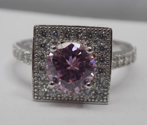 925 silver ring, pink and white topaz - Size O
