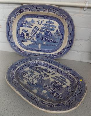 2 large stone china blue and white charger plates