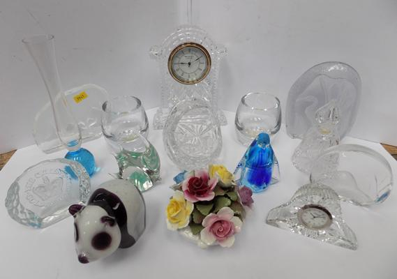 Selection of glass ware, paper weights and clocks etc.