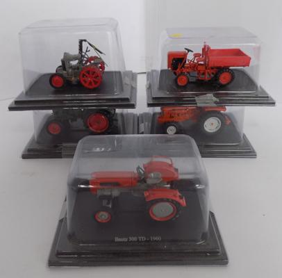 5 Diecast tractors boxed in perspex cases