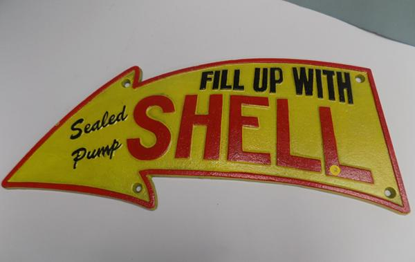 Cast iron - 'Fill Up with Shell' sign