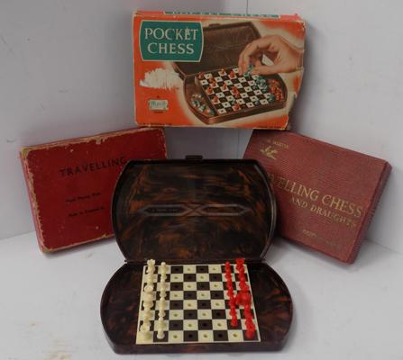 3 vintage travelling chess sets - all complete