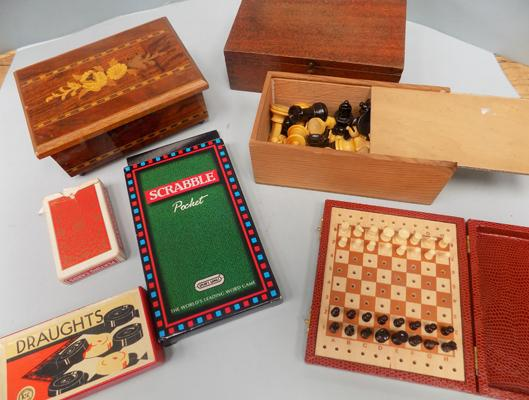 Two jewellery boxes, one musical, plus travelling games