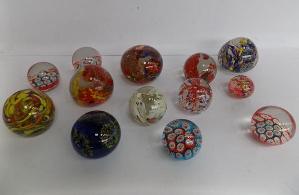 Tray of glass paperweights