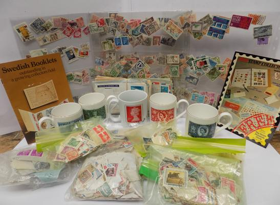 5x postage mugs with stamps pictures and loose stamps