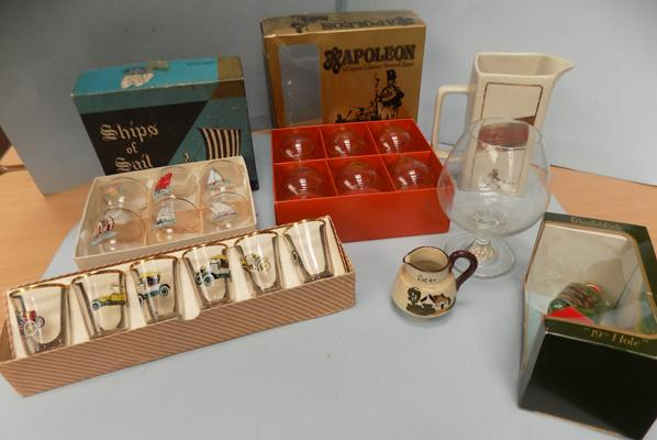 Assortment of boxed decorative glasses & Johnie Walker Red label jug