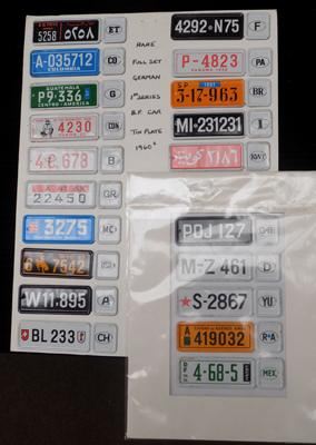 Selection of tin plate number plates for tin plate cars