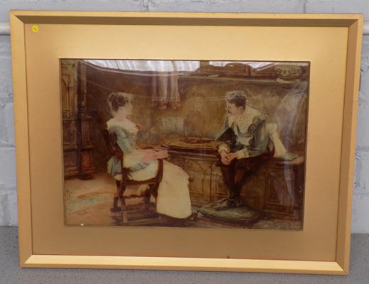 "Crystoleum by A. Clegg, 1921 - 'After Many Years', 21"" x 16"" incl. frame"