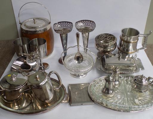 Selection of silver plate & metal ware, incl. posy vase