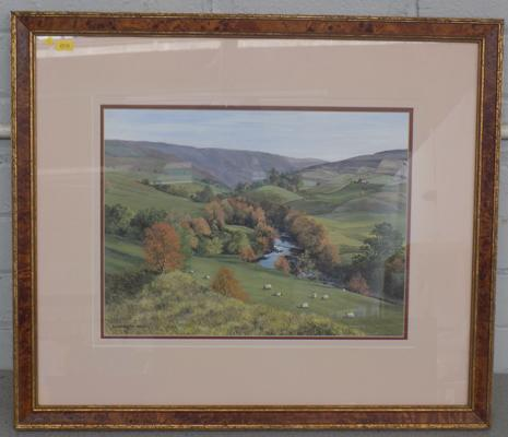 "Watercolour - 'Moorland View' by Elizabeth Wild, 25"" by 21"" incl. frame"