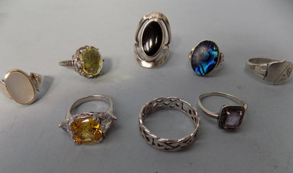 Eight 925 sterling silver rings, various stones, 46.22 grms