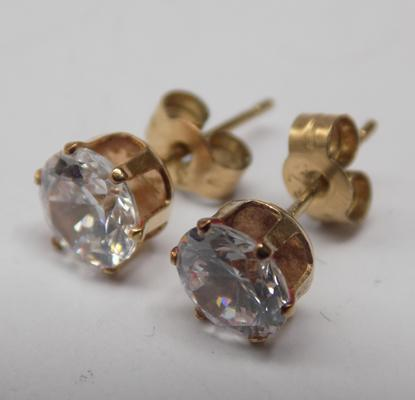 Pair of 9ct gold white stone stud earrings