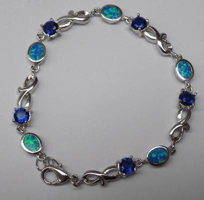 Sapphire crystal and opal bracelet
