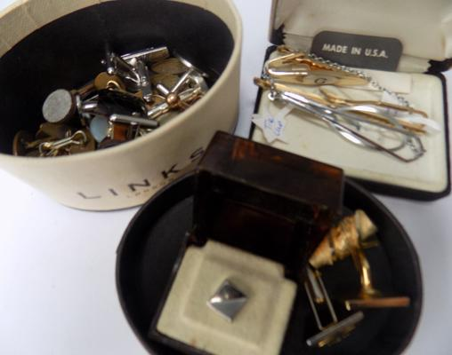 Selection of cufflinks & tie-clips