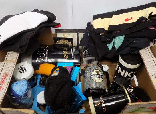 Old Guiness items Rugbyshirts/postcards/balls/moneybox etc
