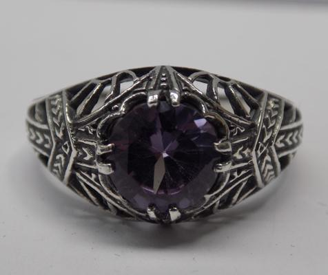 925 Silver mystic topaz ring - Size S