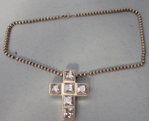 Taxco Kevin Oliver Jewellers 925 silver quartz crucifix + neck chain, 43.15grms