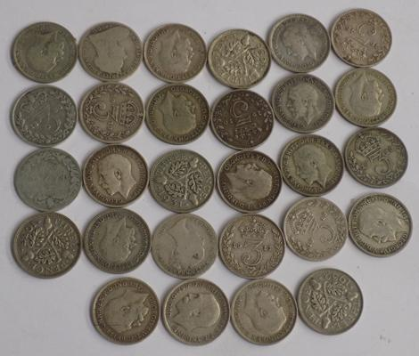 Collection of silver & half silver three pence coins