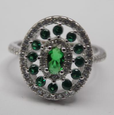925 silver, emerald and topaz cluster ring - Size N