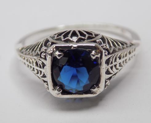 925 silver vintage style ring - Sapphire crystal - size L 1/2