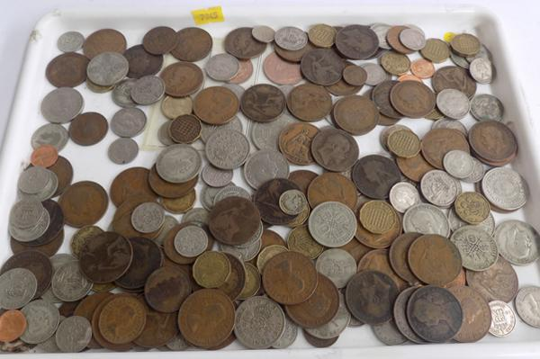 Large selection of mixed coins, some silver