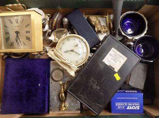 Box of vintage collectables - brass clock, silver plate, 1920's geologist kit, travel clocks, brass ware