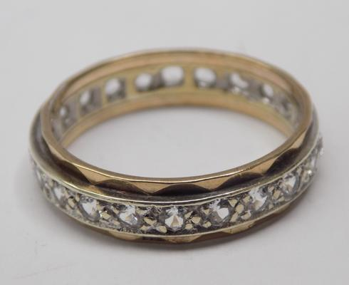 9ct gold yellow and white gold eternity ring - size R