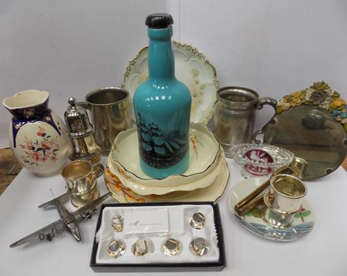 Box including small vintage mirror, Port Meirion bottle, silver plate items, tankards, vintage vase