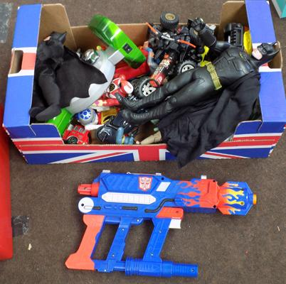 Box of toys, incl. Transformers gun & others
