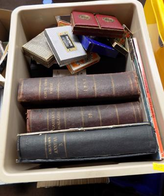 Box of books and vintage cards