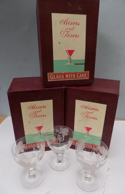 Three boxes of 3 vine etched glasses
