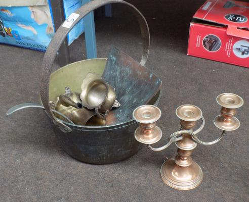 Selection of vintage metal ware including large jam pan