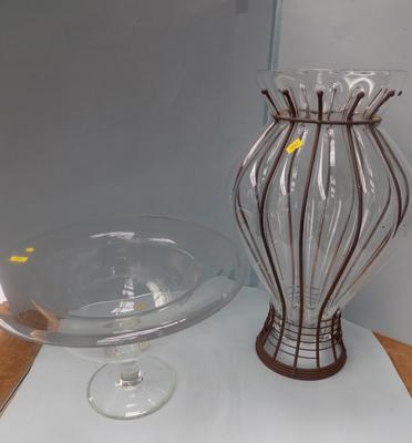Glass and metalwork umbrella stand and one other