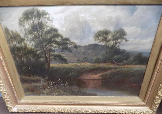 Framed picture of lake scene, signed by artist