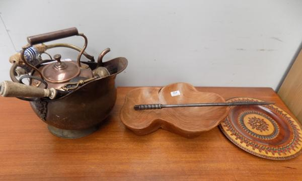 Selection of copper, brass and treen