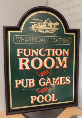 Vintage large metal pub sign, from the gate, removed 1996, details on reverse