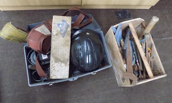 Two large tool boxes, incl. vintage tools & safety equipment