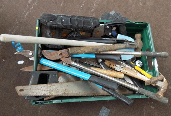 Box of tools, hammers, saws etc...