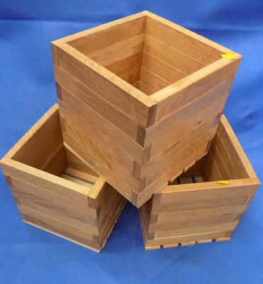 "Three wooden garden planters - approx. 9"" square"