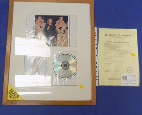 Signed photo/CD of Kylie Minogue in  frame with certificate of authenticity