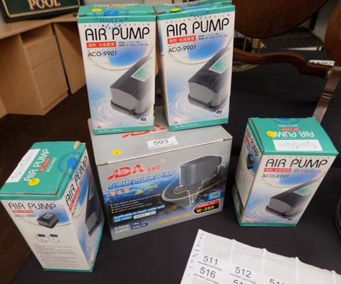 Selection of brand new air pumps (5), incl. submersible pump