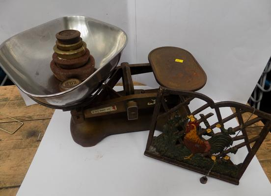 Avery old weighing scales, plus weights & cast iron menu holder