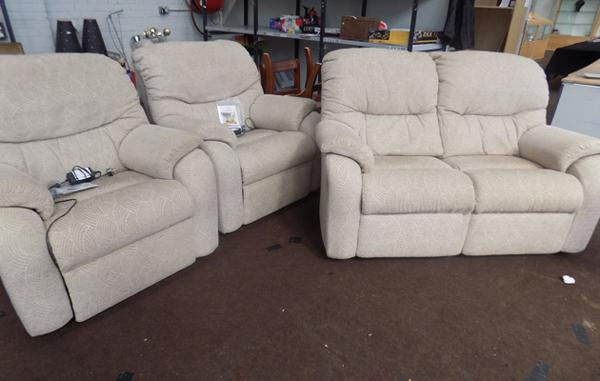 G-Plan 2 seater sofa + 2 electric recliners