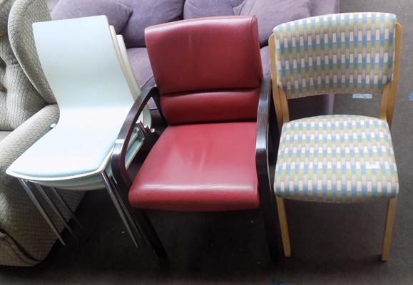 Selection of 5 retro style chairs