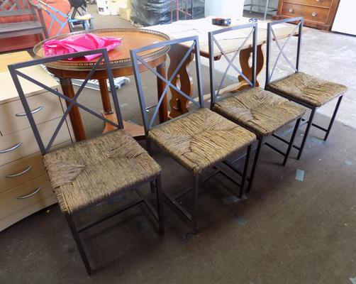 4 Ratton metal chairs
