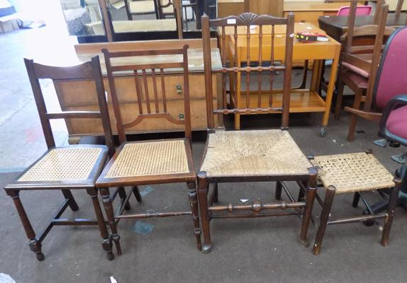 3 chairs and a buffet (all rattan bottoms)